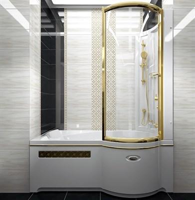 Стенка со стеклянной шторкой Радомир на ванну Валенсия (золото) - фото 6891
