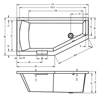 Акриловая ванна Riho Geta 170*90 R - фото 7600
